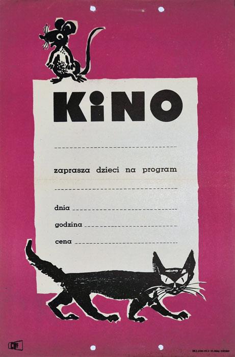 """Oryginalny polski plakat z 1963 roku """"Kino zaprasza dzieci na program"""" (mały format). Plakat jest szablonem wykorzystywanym przez kina do promocji wyświetlanych filmów. Projekt niesygnowany."""