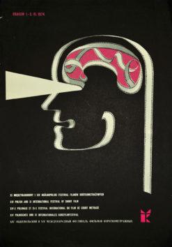 Oryginalny polski plakat reklamujący XI Międzynarodowy XIV Polski Festiwal Filmów Krótkometrażowych