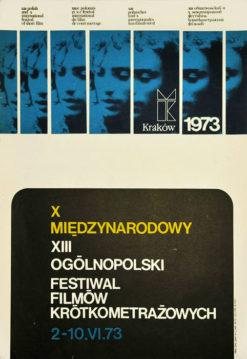 Oryginalny polski plakat reklamujący X Międzynarodowy XIII Ogólnopolski Festiwal Filmów Krótkometrażowych