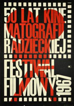 Oryginalny polski plakat reklamujący festiwal filmowy 50 lat kinematografii radzieckiej (mały format). Projekt plakatu: MACIEJ ŻBIKOWSKI