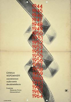 """Oryginalny polski plakat reklamujący pokaz filmowy """"Chwila wspomnień. Najciekawsze wydarzenia dwudziestolecia"""" (mały format). Projekt plakatu: niesygnowany"""