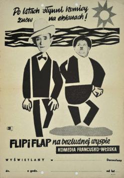 """Oryginalny polski plakat filmowy do włosko-francuskiego filmu komediowego z 1951 """"Flip i Flap na bezludnej wyspie"""". Reżyseria: Léo Joannon"""