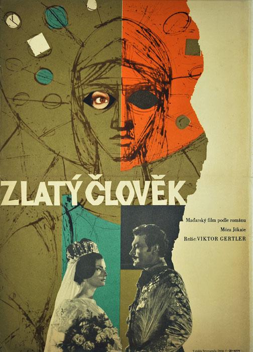"""Oryginalny czechosłowacki plakat filmowy do węgierskiego filmu """"Zlaty clovek"""" (mały format). Reżyseria: Viktor Gertler. Projekt: niesygnowany"""