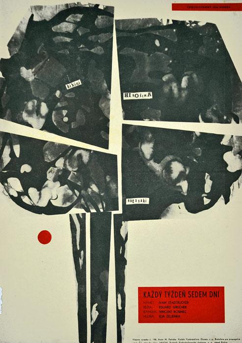 """Oryginalny czechosłowacki plakat filmowy do czechosłowackiego filmu """"Kazdy tyzden sedem dni"""" (mały format). Reżyseria: Eduard Grecner. Projekt: MILAN PASTEKA"""