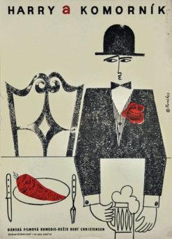 """Oryginalny polski czechosłowacki plakat filmowy do duńskiego filmu """"Harry i kamerdyner"""" (mały format). Reżyseria: Bent Christensen. Projekt: JAROSLAV SLOVAK"""
