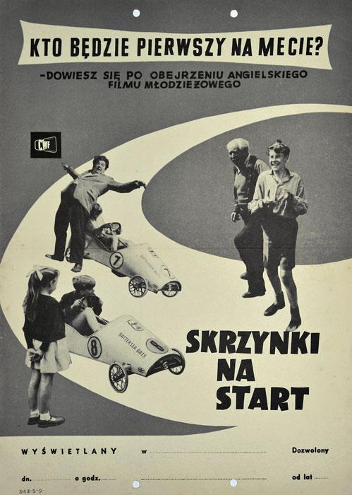 """Oryginalny polski plakat filmowy do angielskiego filmu """"Skrzynki na start"""". Reżyseria: Darcy Conyers. Projekt: niesygnowany"""