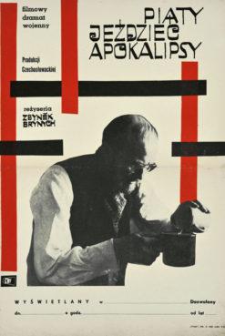 """Oryginalny polski plakat filmowy do czechosłowackiego filmu """"Piąty jeździec apokalipsy"""" (mały format). Reżyseria: Zbynek Brynych. Projekt: niesygnowany"""