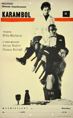 """Oryginalny polski plakat filmowy do węgierskiego filmu """"Karambol"""" (mały format). Reżyseria: Felix Mariassy. Projekt plakatu: niesygnowany"""