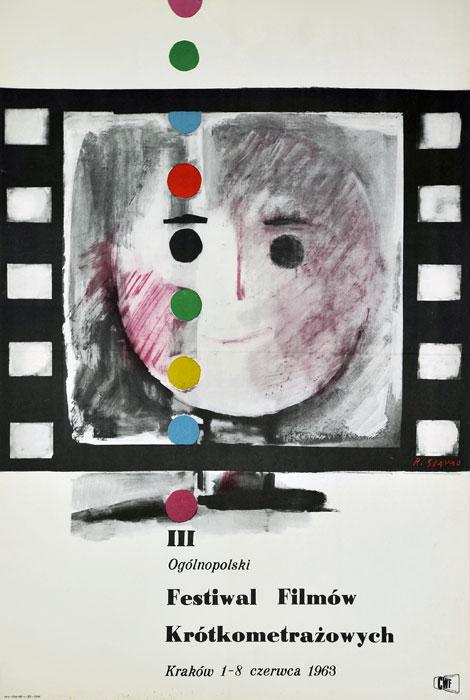 Oryginalny polski plakat reklamujący III Ogólnopolski Festiwal Filmów Krótkometrażowych
