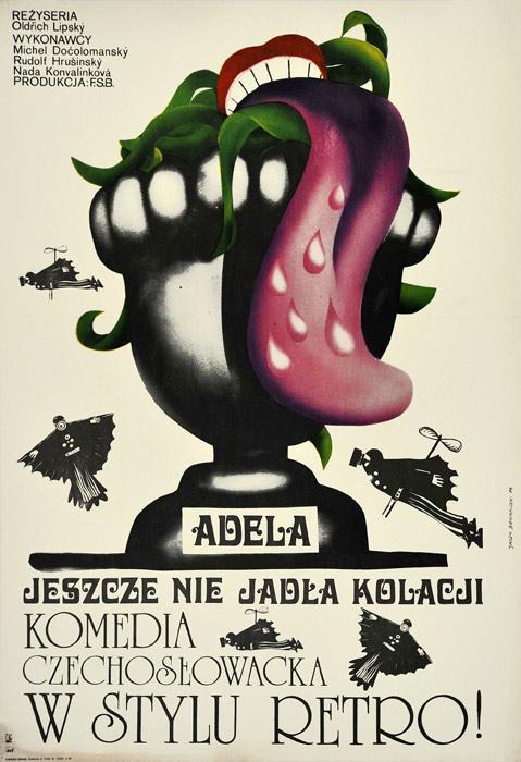 """Oryginalny polski plakat filmowy do filmu czechosłowackiego """"Adela jeszcze nie jadła kolacji"""". Reżyseria: Oldrich Lipsky. Projekt: ANDRZEJ BIEŃKOWSKI"""