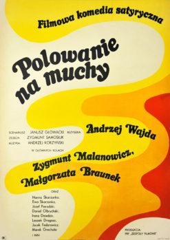 """Oryginalny polski plakat filmowy do filmu polskiego """"Polowanie na muchy"""". Reżyseria: Andrzej Wajda. Projekt: MACIEJ ŻBIKOWSKI"""