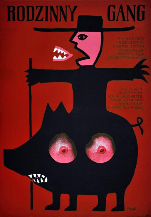 """Oryginalny polski plakat filmowy do filmu włoskiego """"Rodzinny gang"""". Reżyseria: Filippo Ottoni. Projekt: JERZY FLISAK"""