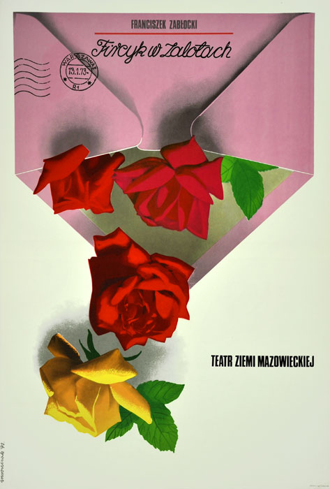"""Oryginalny polski plakat teatralny do sztuki Franciszka Zabłockiego """"Fircyk w zalotach"""" w Teatrze Ziemi Mazowieckiej w Warszawie. Projekt plakatu: JÓZEF MROSZCZAK"""