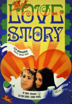 """Oryginalny polski plakat filmowy do amerykańskiego filmu """"Love story"""". Reżyseria: Arthur Hiller. Projekt plakatu: JAKUB EROL"""