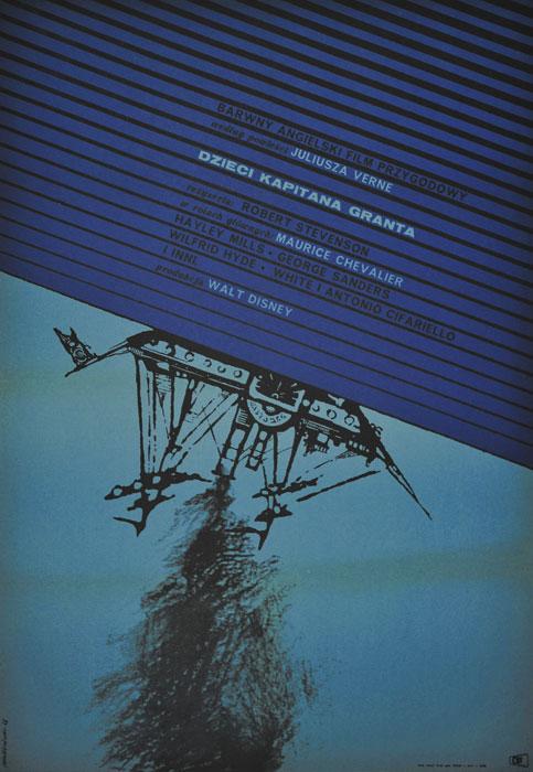 """Oryginalny polski plakat filmowy do angielskiego filmu przygodowego wg powieści Juliusza  Verne """"Dzieci kapitana Granta"""". Reżyseria: Robert Stevenson. Produkcja: Walt Disney. Projekt plakatu: MAREK MOSIŃSKI"""