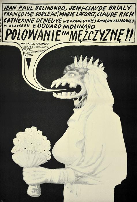 """Oryginalny polski plakat filmowy do filmu francuskiego: """"Polowanie na mężczyznę"""". Reżyseria: Edouard Molinaro. Projekt: FRANCISZEK STAROWIEYSKI"""