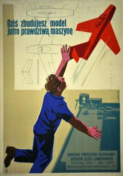 """Oryginalny polski plakat """"Dziś zbudujesz samolot"""