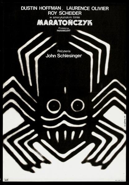 """Oryginalny polski plakat filmowy do amerykańskiego filmu """"Maratończyk"""". Reżyseria: John Schlesinger. Projekt plakatu: WIKTOR GÓRKA"""