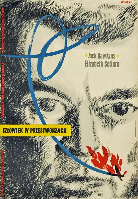 """Oryginalny polski plakat filmowy do angielskiego filmu """"Człowiek w przestworzach"""". Reżyseria: Charles Crichton. Projekt plakatu: WOJCIECH WENZEL"""
