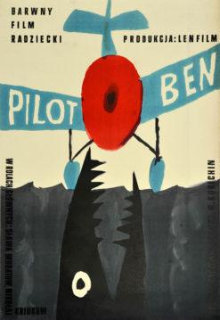 """Oryginalny polski plakat filmowy do radzieckiego filmu """"Pilot Ben"""". Reżyseria:  Teodor Wulfowicz"""