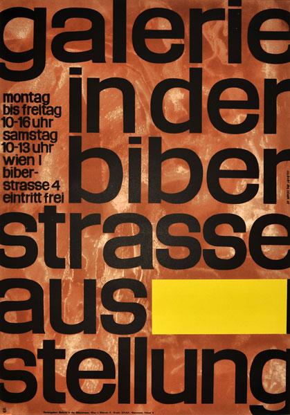 Plakat wystawowy Galerie in der Biberstrasse Ausstellung. Projekt: HUBERT HILSCHER