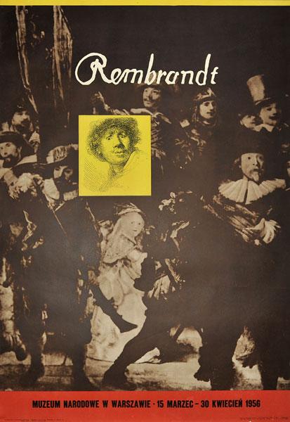 Plakat wystawowy wystawy monograficznej dzieł Rembrandta w Muzeum Narodowym w Warszawie w 1956 r. Projekt: HENRYK TOMASZEWSKI