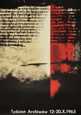 Plakat zapowiadający Tydzień Archiwów 12-20 X 1963. Projekt: WOJCIECH ZAMECZNIK