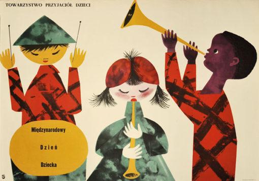 Plakat okolicznościowy informujący o Międzynarodowym Dniu Dziecka r. Projekt: lata 1960-te.