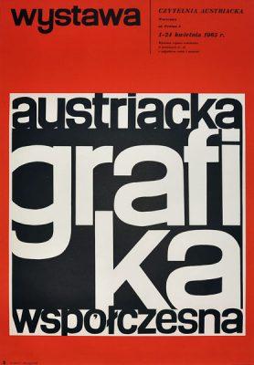 Plakat wystawowy wystawy Austriacka Grafika Współczesna w Warszawie w 1965 r. Projekt: HUBERT HILSCHER