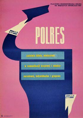 """Plakat reklamowy firmy Polres """"Polres - Placówki rezerwowania miejsc na większych dworcach PKP"""". Projekt: lata 1960-te."""