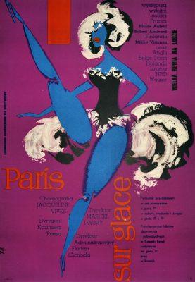 Plakat reklamujący Paris sur glace (Wielką rewię na lodzie). Projekt TADEUSZ JODŁOWSKI