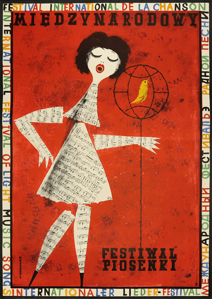 Plakat okolicznościowy informujący o Międzynarodowym Festiwalu Piosenki. Projekt: JERZY SROKOWSKI