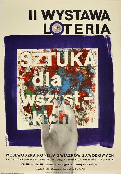 """Plakat reklamujący wystawę """"Sztuka dla wszystkich"""". Projekt ANDRZEJ ONEGIN DĄBROWSKI"""