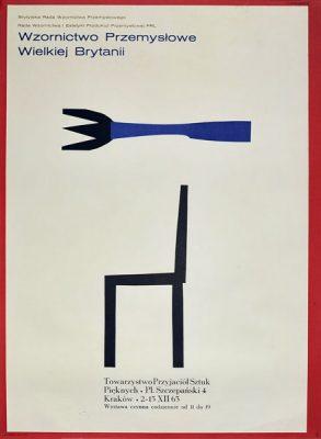 Plakat wystawowy wystawy Wzornictwo Przemysłowe Wielkiej Brytanii w Krakowie w 1963 roku. Projekt: HENRYK TOMASZEWSKI