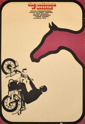 """Plakat filmowy do niemieckiego filmu """"Noc poślubna w deszczu"""". Reżyseria: Horst Seemann. Projekt: BRONISŁAW ZELEK"""