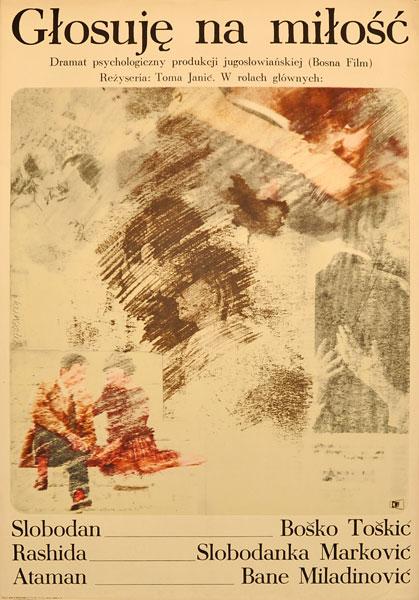 """Plakat filmowy do jugosłowiańskiego filmu """"Głosuję na miłość"""". Reżyseria: Toma Janic. Projekt: MAREK FREUDENREICH"""