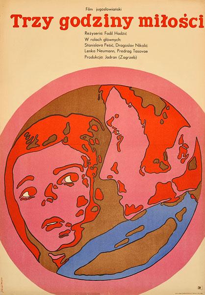 """Plakat filmowy do jugosłowiańskiego filmu """"Trzy godziny miłości"""". Reżyseria: Toma Janic. Projekt: JACEK NEUGEBAUER"""