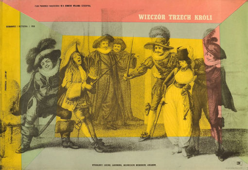 """Oryginalny polski plakat filmowy do radzieckiego filmu """"Wieczór trzech króli"""". Reżyseria: Jakow Frid. Projekt: WALERIAN BOROWCZYK"""
