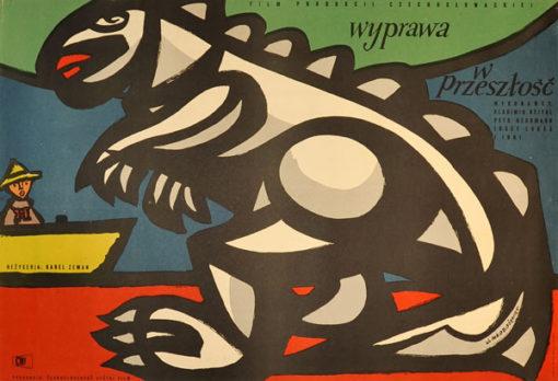 """Plakat filmowy do czechosłowackiego filmu """"Wyprawa w przeszłość"""". Reżyseria: Karel Zeman. Projekt: JAN MŁODOŻENIEC"""