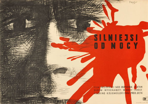"""Plakat filmowy do niemieckiego filmu """"Silniejsi od nocy"""". Reżyseria: Slatan Dudow. Projekt: WOJCIECH FANGOR"""
