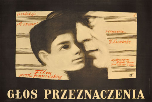 """Plakat filmowy do francuskiego filmu """"Głos przeznaczenia"""". Reżyseria: Georges Lacombe. Projekt: JULIAN PAŁKA"""