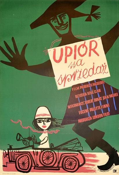 """Plakat filmowy do angielskiego filmu """"Upiór na sprzedaż"""". Reżyseria: Rene Clair. Projekt: JERZY SROKOWSKI"""