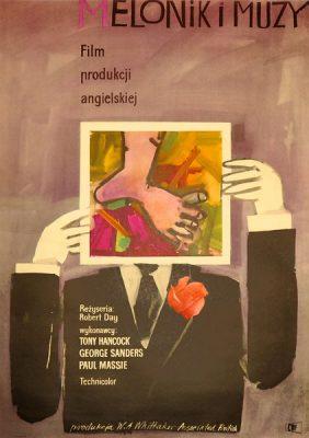 """Plakat filmowy do angielskiego filmu """"Melonik i muzy"""". Reżyseria: Robert Day. Projekt: JERZY JAWOROWSKI"""