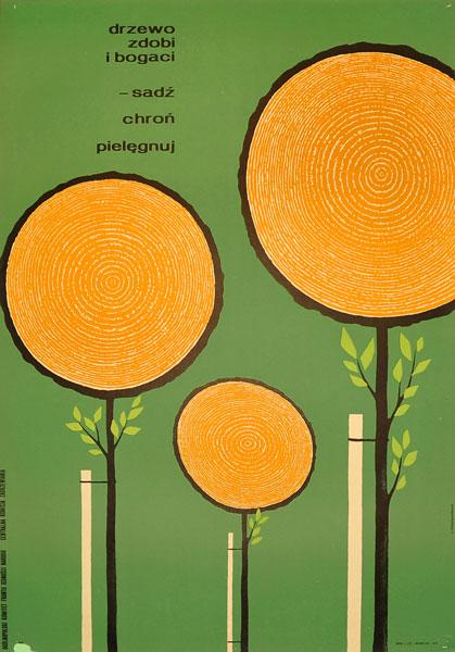 """Plakat społeczny - proekologiczny """"Drzewo zdobi i bogaci - sadź"""