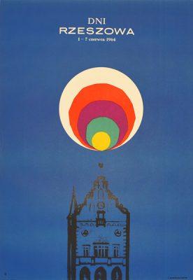 Plakat turystyczny reklamujący Dni Rzeszowa 1-7 czerwca 1964. Projekt: LESZEK HOŁDANOWICZ