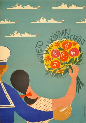 Oryginalny polski plakat propagandowy PRL reklamujący Święto marynarki wojennej. Projekt: JERZY SROKOWSKI