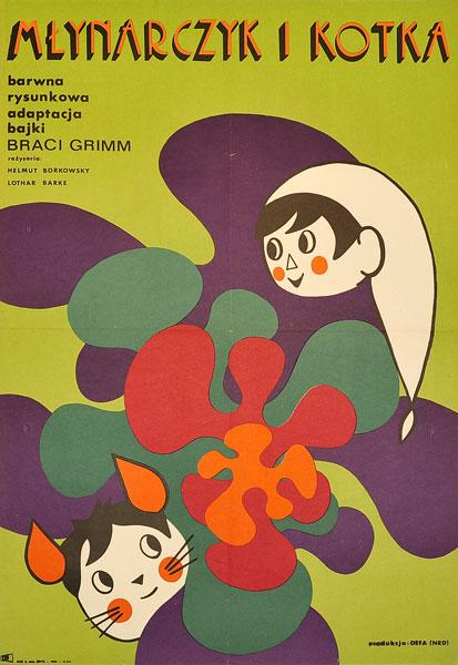 """Oryginalny plakat filmowy do niemieckiego filmu dla dzieci """"Młynarczyk i kotka"""". Reżyseria: Helmut Borkowski. Projekt plakatu: ZUZANNA LIPIŃSKA"""