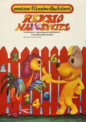 """Plakat filmowy do animowanego filmu dla dzieci """"Reksio nauczyciel"""". Reżyseria: Lechosław Marszałek. Projekt: HANNA BODNAR"""