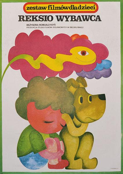 """Plakat filmowy do animowanego filmu dla dzieci """"Reksio wybawca"""". Reżyseria: Lechosław Marszałek. Projekt: HANNA BODNAR"""