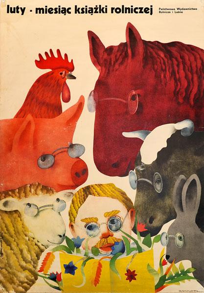 Polski społeczny reklamujący dni książki rolniczej w lutym 1973 r. Projekt plakatu: JERZY CZERNIAWSKI